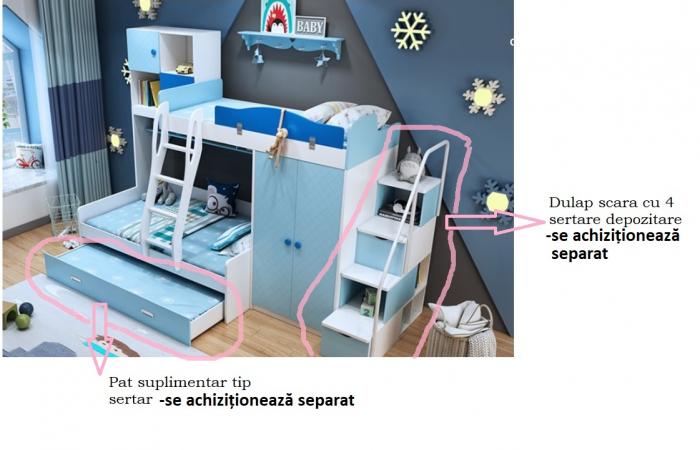 Paturi supraetajate, cu dulap, scara si biblioteca pentru dormitor doi copii 2