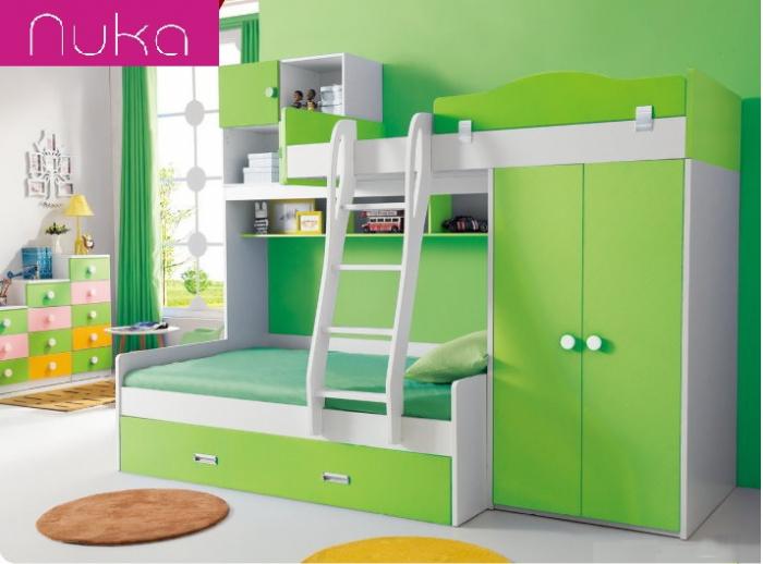 Paturi supraetajate, cu dulap, scara si biblioteca pentru dormitor doi copii 0