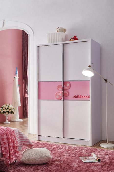 Set mobilier Childhood din MDF pentru camera copii 4 piese: pat 120 x 190cm, noptiera, dulap 2 usi, birou -cod 8861 [10]