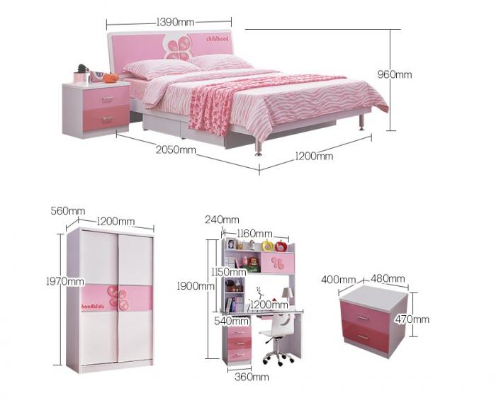 Set mobilier Childhood din MDF pentru camera copii 4 piese: pat 120 x 190cm, noptiera, dulap 2 usi, birou -cod 8861 [13]