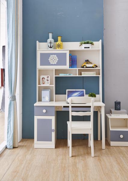Set mobilier Robin din MDF si lemn masiv pentru camera copii 4 piese: pat 120 x 190cm, noptiera, dulap 3 usi, birou -cod 8918 7
