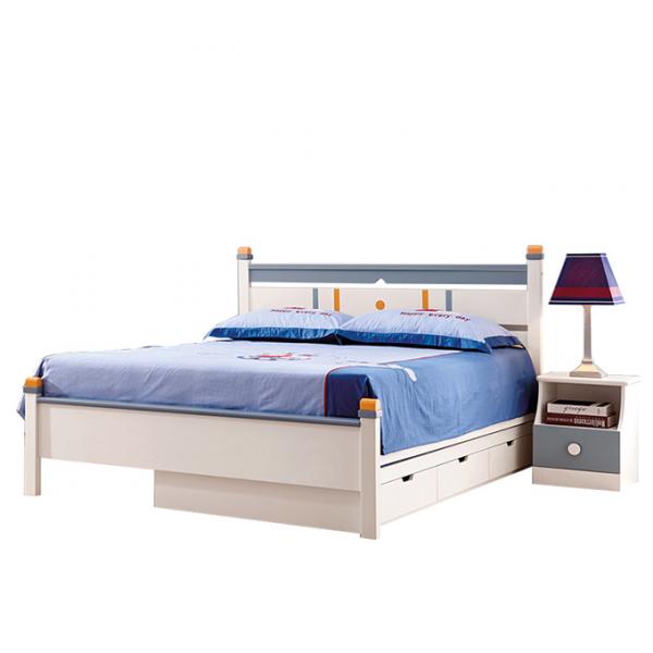 Set mobilier Solis din MDF si lemn masiv stejar pentru camera copii 4 piese: pat 120 x 190cm, noptiera, dulap 3 usi, birou -cod 8915 [5]