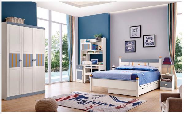 Set mobilier Solis din MDF si lemn masiv stejar pentru camera copii 4 piese: pat 120 x 190cm, noptiera, dulap 3 usi, birou -cod 8915 [0]