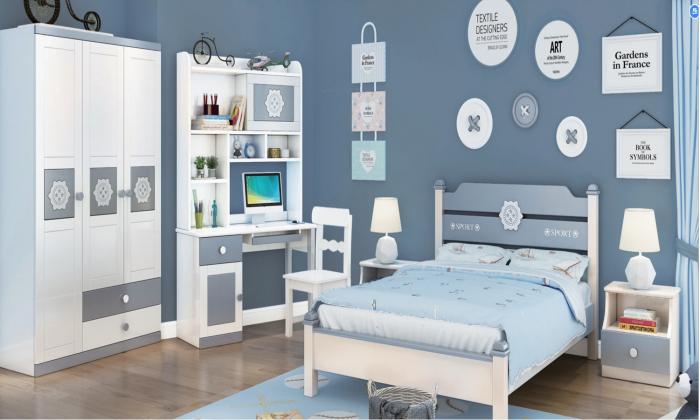 Set mobilier Robin din MDF si lemn masiv pentru camera copii 4 piese: pat 120 x 190cm, noptiera, dulap 3 usi, birou -cod 8918 0