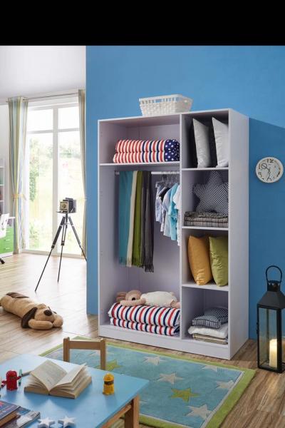 Set mobilier Rocky din MDF pentru camera copii 4 piese: pat 120/190cm cu 2 sertare depozitare, noptieră, dulap 3 usi, birou - cod 8119 [8]