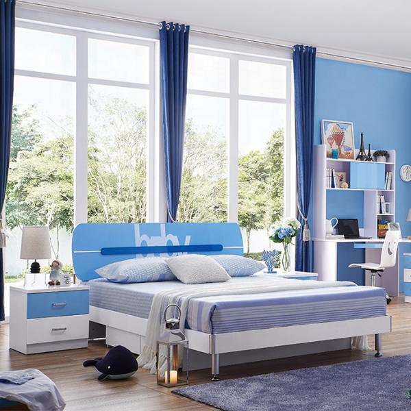 Set mobilier Blue din MDF pentru camera copii 4 piese: pat 120/190cm cu 2 sertare depozitare, noptieră, dulap 3 usi, birou - cod 8862 [1]