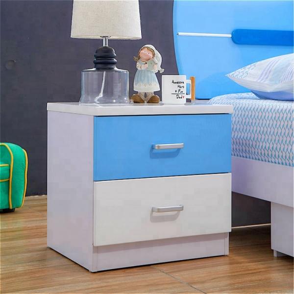 Set mobilier Blue din MDF pentru camera copii 4 piese: pat 120/190cm cu 2 sertare depozitare, noptieră, dulap 3 usi, birou - cod 8862 [10]