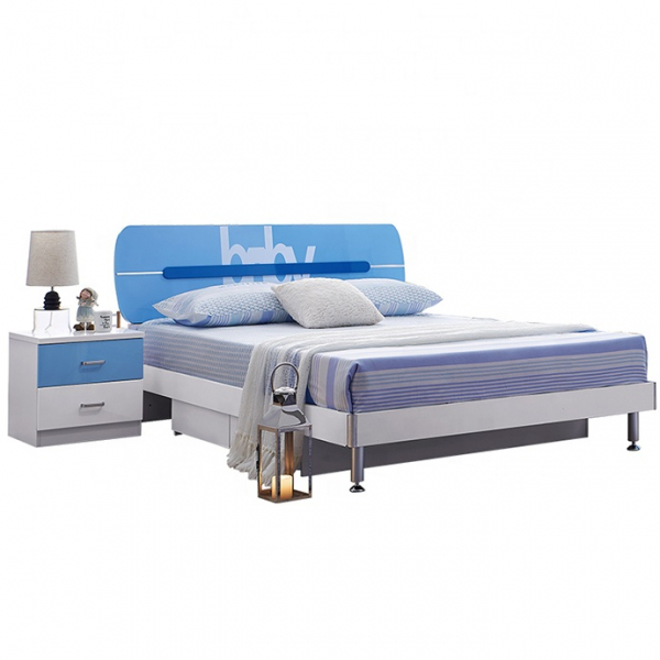 Set mobilier Blue din MDF pentru camera copii 4 piese: pat 120/190cm cu 2 sertare depozitare, noptieră, dulap 3 usi, birou - cod 8862 3