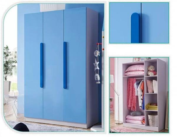 Set mobilier Blue din MDF pentru camera copii 4 piese: pat 120/190cm cu 2 sertare depozitare, noptieră, dulap 3 usi, birou - cod 8862 5