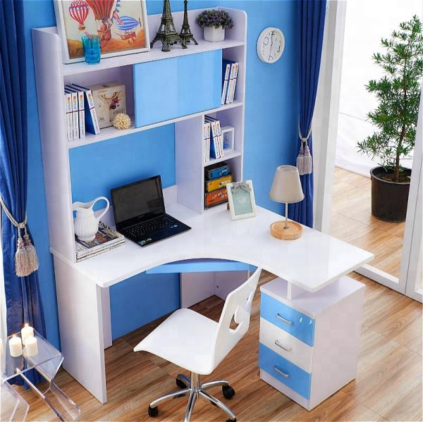 Set mobilier Blue din MDF pentru camera copii 4 piese: pat 120/190cm cu 2 sertare depozitare, noptieră, dulap 3 usi, birou - cod 8862 7