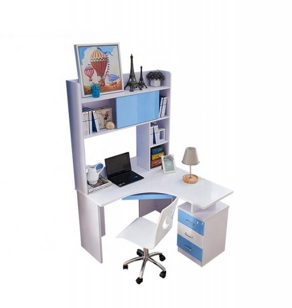 Set mobilier Blue din MDF pentru camera copii 4 piese: pat 120/190cm cu 2 sertare depozitare, noptieră, dulap 3 usi, birou - cod 8862 8
