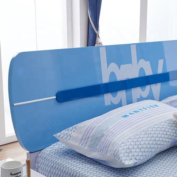 Set mobilier Blue din MDF pentru camera copii 4 piese: pat 120/190cm cu 2 sertare depozitare, noptieră, dulap 3 usi, birou - cod 8862 [2]