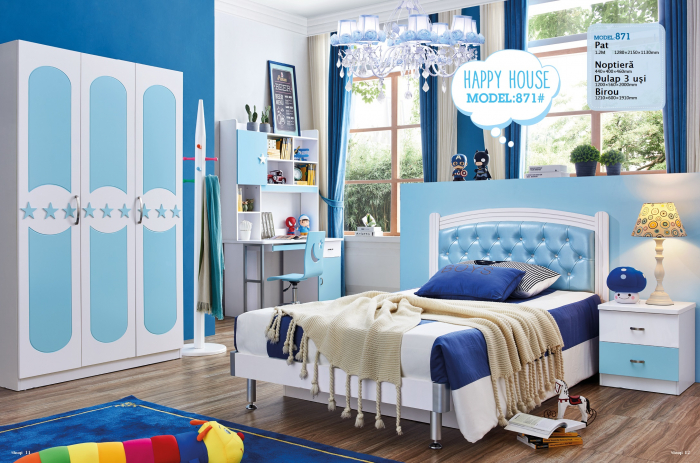 Pat  Donald din MDF pentru camera copii cu 2 sertare depozitare 120 x 200cm si noptieră- cod 871P [4]