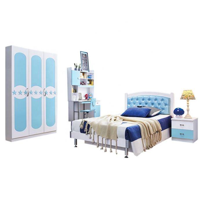 Pat  Donald din MDF pentru camera copii cu 2 sertare depozitare 120 x 200cm si noptieră- cod 871P 5