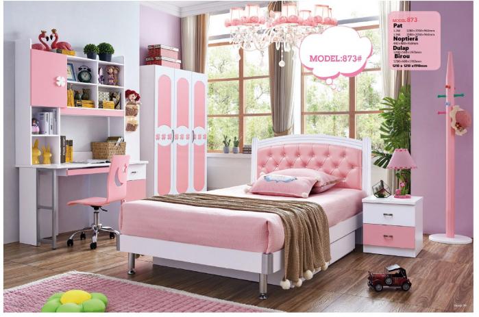 Set mobilier dormitor Sirena din MDF pentru camera fete: pat, noptiera, dulap 3 usi, birou 0