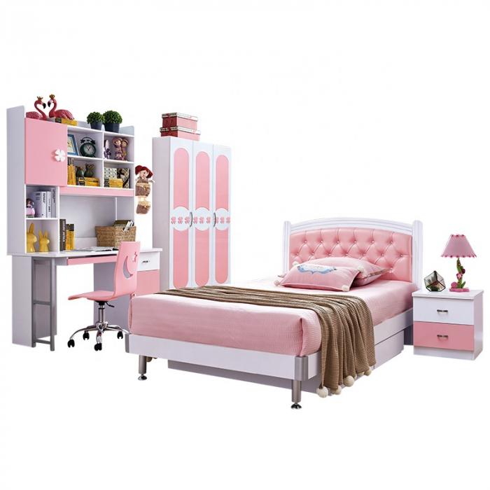 Set mobilier dormitor Sirena din MDF pentru camera fete: pat, noptiera, dulap 3 usi, birou 1