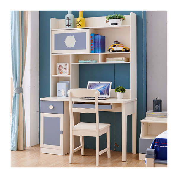 Set mobilier Robin din MDF si lemn masiv pentru camera copii 4 piese: pat 120 x 190cm, noptiera, dulap 3 usi, birou -cod 8918 6