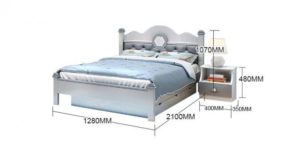 Set mobilier Bingo din MDF si lemn masiv pentru camera copii 4 piese: pat 120 x 190cm, noptiera, dulap 3 usi, birou -cod 8921 16