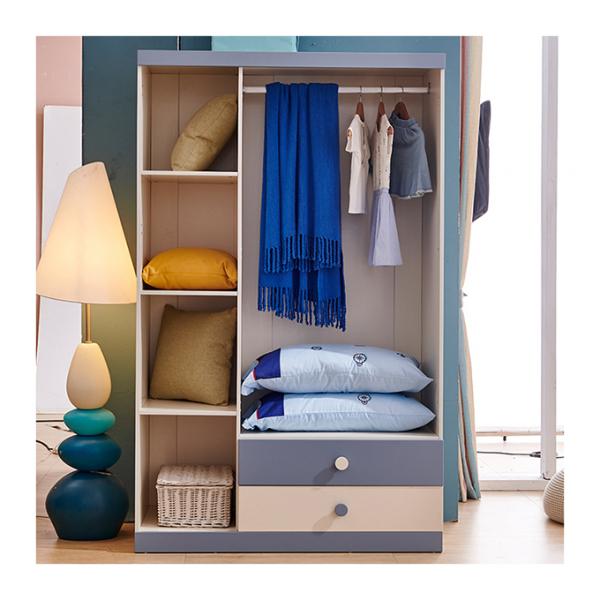 Set mobilier Guarddin MDF si lemn masiv pentru camera copii 4 piese: pat 120 x 190cm, noptiera, dulap 3 usi, birou -cod 8913 [11]