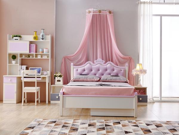 Set mobilier Sofia din MDF si lemn masiv pentru camera copii 4 piese: pat 120 x 190cm, noptiera, dulap 3 usi, birou -cod 8922 [2]