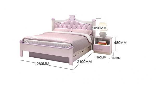 Set mobilier Aurora din MDF si lemn masiv pentru camera copii 4 piese: pat 120 x 190cm, noptiera, dulap 3 usi, birou -cod 8920 6