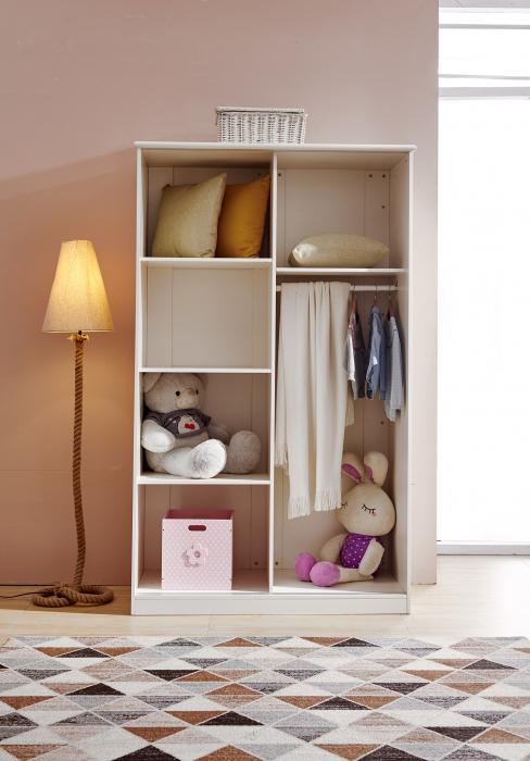 Set mobilier Sofia din MDF si lemn masiv pentru camera copii 4 piese: pat 120 x 190cm, noptiera, dulap 3 usi, birou -cod 8922 [13]