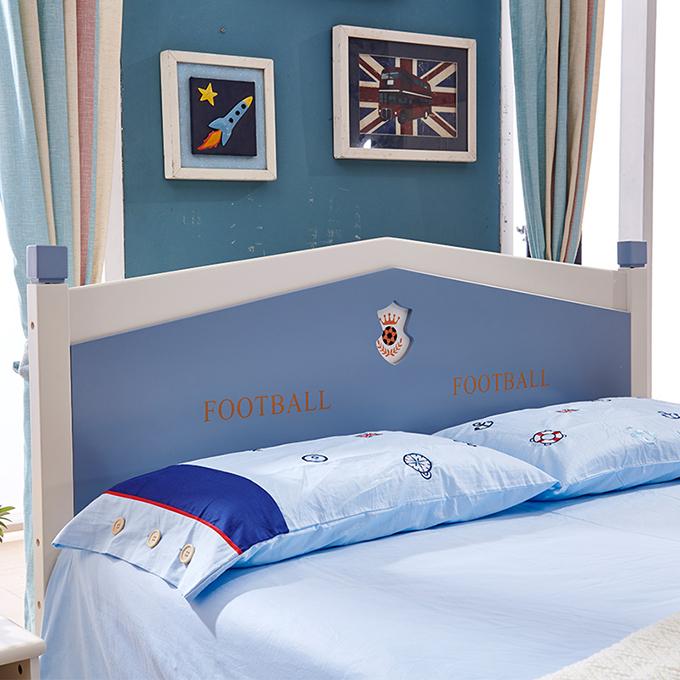 Set mobilier Football din MDF si lemn masiv pentru camera copii 4 piese: pat 120 x 190cm, noptiera, dulap 3 usi, birou -cod 8911 [13]