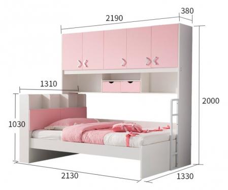 Set mobilier Neptun din MDF  pat, dulap  5 uși si etajeră pentru cameră copii cod 808A1
