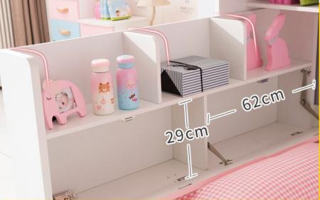 Set mobilier Neptun din MDF  pat, dulap  5 uși si etajeră pentru cameră copii cod 808A5