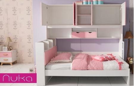 Set mobilier Neptun din MDF  pat, dulap  5 uși si etajeră pentru cameră copii cod 808A3