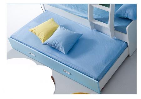 Pat Mercur din  MDF cu pat suplimentar sau sertar depozitare, dulap 4 uși și etajeră pentru cameră  copii 801A4