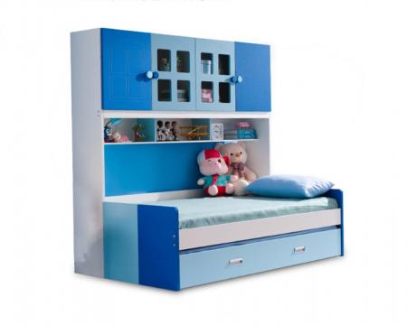 Pat Mercur din  MDF cu pat suplimentar sau sertar depozitare, dulap 4 uși și etajeră pentru cameră  copii -801R2