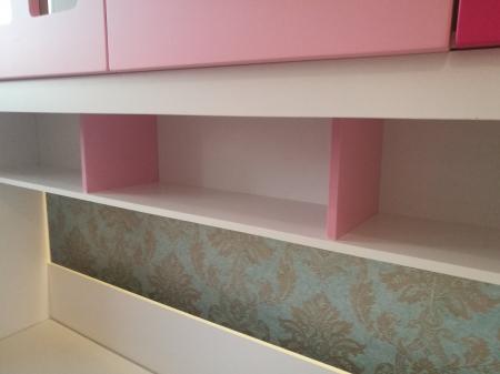 Pat Mercur din  MDF cu pat suplimentar sau sertar depozitare, dulap 4 uși și etajeră pentru cameră  copii -801R10