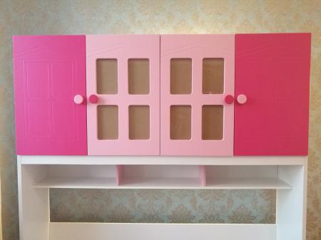Pat Mercur din  MDF cu pat suplimentar sau sertar depozitare, dulap 4 uși și etajeră pentru cameră  copii -801R1