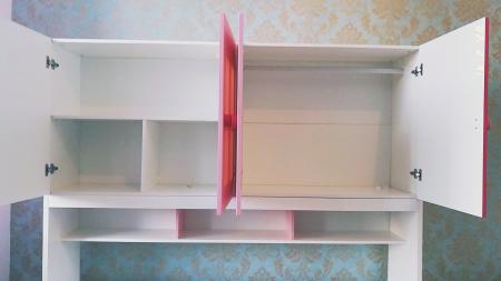 Pat Mercur din  MDF cu pat suplimentar sau sertar depozitare, dulap 4 uși și etajeră pentru cameră  copii -801R11