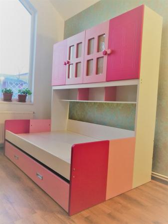 Pat Mercur din  MDF cu pat suplimentar sau sertar depozitare, dulap 4 uși și etajeră pentru cameră  copii -801R7