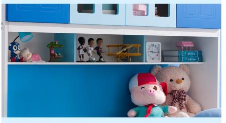 Pat Mercur din  MDF cu pat suplimentar sau sertar depozitare, dulap 4 uși și etajeră pentru cameră  copii -801R5