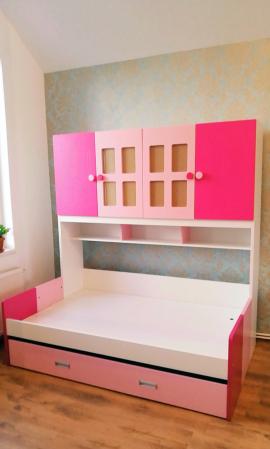 Pat Mercur din  MDF cu pat suplimentar sau sertar depozitare, dulap 4 uși și etajeră pentru cameră  copii -801R0