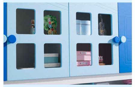 Pat Mercur din  MDF cu pat suplimentar sau sertar depozitare, dulap 4 uși și etajeră pentru cameră  copii -801R3