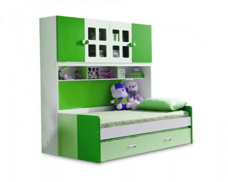 Pat din  MDF cu dulap 4 uși și etajeră pentru cameră copii [0]