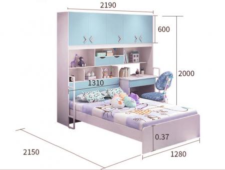 Pat Pluto din MDF cu dulap  5 uși, etajeră, birou și scaun pentru cameră copii cod 808B1