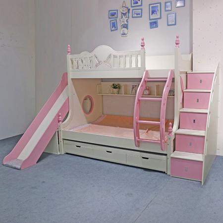 Paturi supraetajate cu tobogan pentru dormitor copii [3]