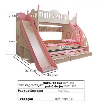 Paturi supraetajate cu tobogan pentru dormitor copii [2]