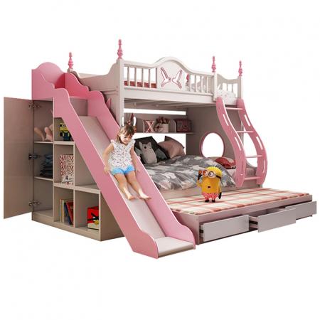 Paturi supraetajate cu tobogan pentru dormitor copii [0]