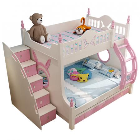 Pat supraetajat Buny Pink din lemn masiv stejar si MDF, cu 3 sertare pentru depozitare,  scară si dulap depozitare 5 sertare pentru dormitor copii cod 910P1