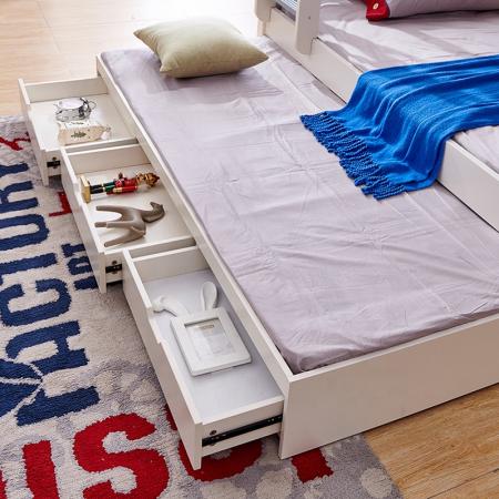 Pat supraetajat Guard  din lemn masiv si MDF, cu 3 sertare pentru depozitare,  scară si dulap depozitare 4 sertare pentru dormitor copii cod 918 [10]