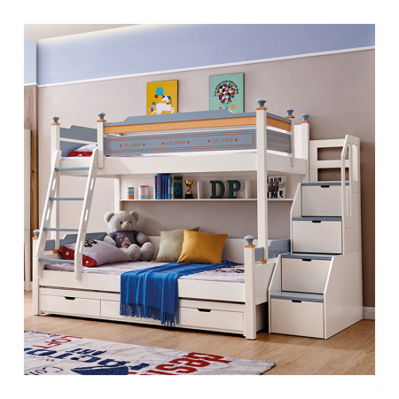 Pat supraetajat Guard  din lemn masiv si MDF, cu 3 sertare pentru depozitare,  scară si dulap depozitare 4 sertare pentru dormitor copii cod 918 [0]