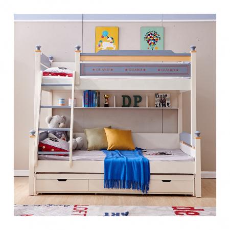 Pat supraetajat Guard  din lemn masiv si MDF, cu 3 sertare pentru depozitare,  scară si dulap depozitare 4 sertare pentru dormitor copii cod 918 [1]