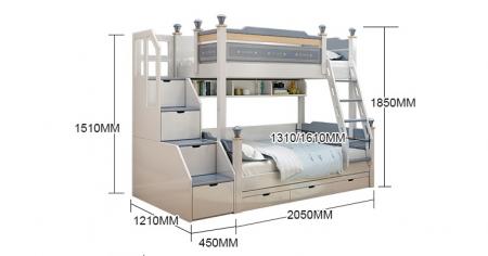 Pat supraetajat Guard  din lemn masiv si MDF, cu 3 sertare pentru depozitare,  scară si dulap depozitare 4 sertare pentru dormitor copii cod 918 [13]