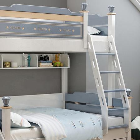 Pat supraetajat Guard  din lemn masiv si MDF, cu 3 sertare pentru depozitare,  scară si dulap depozitare 4 sertare pentru dormitor copii cod 918 [5]